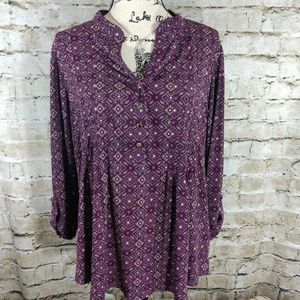 Dress Barn Purple Paisley Geometric Print Tunic.